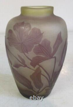 Gallé acid etched art nouveau cameo glass vase botanical flower design Galle