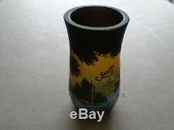 Galle cameo glass vase with design of egrets, signed