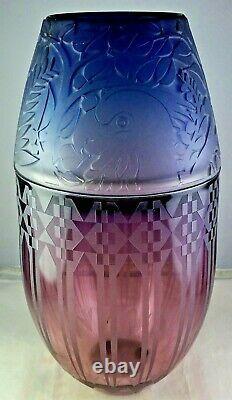 Gary Genetti Two-Color Cameo Studio Art Glass Vase Parrots Geometric Signed