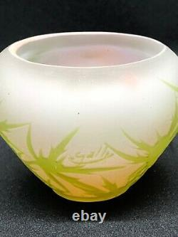 Genuine Emile Galle small Vase, Art Nouveau, early 20th C. Green Cameo Glass