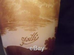 Genuine Galle Scenic Multi-layer Cameo Glass Vase, 1904-1914, Cameo Signature