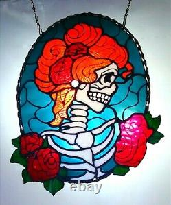 Gladys Stained Glass Artwork skull bones dead skeleton death cameo gothic