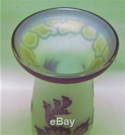 Gorgeous 10.5 ANTIQUE GERMAN ART NOUVEAU Cameo Glass Vase c. 1915 Rare Color
