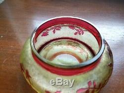 Gorgeous 1900s BACCARATDeposeVaseline Cameo Dresser JarSigned