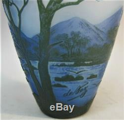 Gorgeous Antique DEVEZ FRENCH CAMEO Glass Vase with Mountains & Trees c. 1915