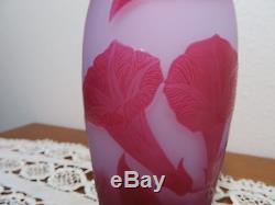 Gorgeous Antique D' Argental Cameo Convolvulus Vase Art Nouveau Signed