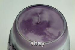 Gorgeous Art Nouveau Acid Cut Cameo Purple BIRDS FROSTED GLASS VASE