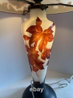 Gorgeous Reproduction Galle Cameo Glass Table Lamp Double Light