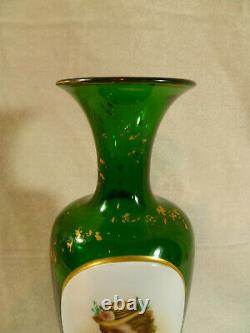 Green Moser Glass Hand Painted Cameo Portrait Vase circa 1880