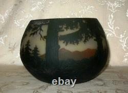 HUGE 1890's Signed Nancy Daum Cameo Glass BOWL done in a Forest by Water Design