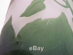 Huge 16Hx7W Authentic Green Arsall Vase with beautiful Green Vines Cameo Glass