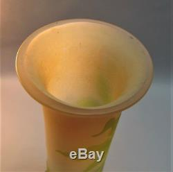 Huge 18.5 Signed GALLE ART NOUVEAU Cameo Glass Vase c. 1900 antique French