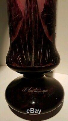 Huge 24 Signed Le Verre Francais Cameo Glass Vase Schneider France Arts Crafts