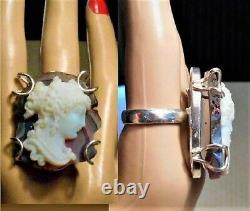 Huge Cameo 925 RING 1890 French Pate de Verre White Glass Victorian Cameo Druzy