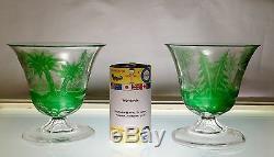 Impressive Pair of Moser Cameo & Intaglio Green Cut Clear Vases ca. 1885