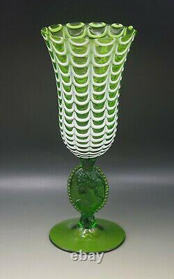 Italy Empoli Glas Nailsea Draped Vase Cameo Medallion Stem 12.5 Green Vintage