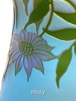 J. MICHEL, Paris c. 1920s Cameo Enamelled Art Glass Vase Castle Landscape Scene