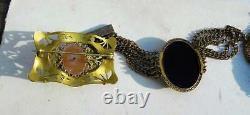 Jet Black Glass Cameo Bracelet Brass 6 Strand Cuff Antique Art Deco. Exquisite C