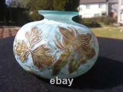 Jonathan Harris art Glass Posy vase silver Cameo Signed base