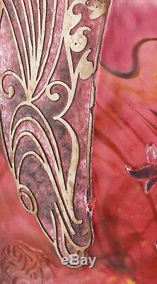 Jonathan Harris silver cameo glass vase on pink ground with fish design, signed