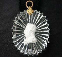 KING CHARELS X Cameo Sulphide Baccarat Portrait Medallion