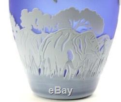 Kelsey Murphy Elephant Cobalt Cameo Glass Vase Pilgrim Signed + COA VTG 1991