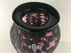 Kelsey Murphy Huge Purple and Black Cameo Glass Vase Pilgrim