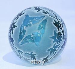 Kelsey Murphy Pilgrim Glass Sand Carved Cameo Paperweight OOAK Lion Gazelle Bird