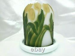 Kelsey Murphy / Pilgrim Tulips Cameo Sand Carved Fairy Lamp/Light/Luminary