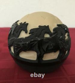 Kelsey Murphy Signed c2000 Pilgrim Cameo Black Wild Horses Paperweight Glass Orb