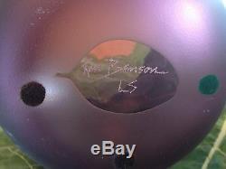 Ken Benson Amethyst Olive Branch Cameo Art Glass Vase