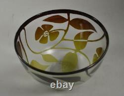 Kosta Boda Cameo Cut Art Glass Bowl Floral Details Sweden