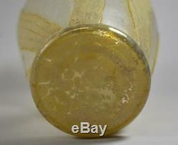 Kralik Bohemian Cameo Art Glass Iris Vase, Loetz Era Unsigned