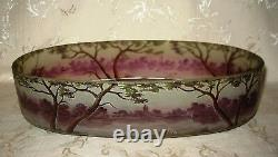 LARGE Antique Signed Muller Freres Cameo Art Glass Bowl / Planter 13 in