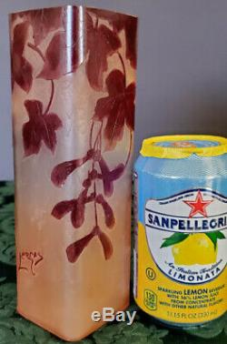 LEGRAS French 1902-07 Unique Cameo Acid Etched Pink Cream Cranberry Opaque Vase