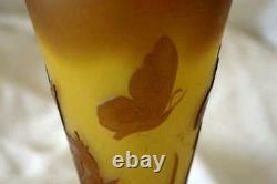 La Rochere Glass Brown And Yellow Cameo Art Glass Vase Butterflies 11 Signed