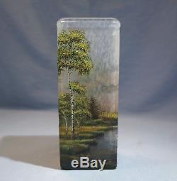 Lamartine French Acid-Etched Cameo Glass Birch Trees Design Circa 1900