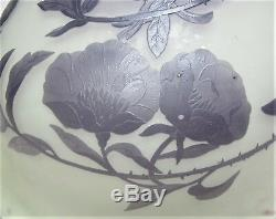 Large GALLE PURPLE CAMEO Glass Hanging Lamp Shade Fixture c. 1915 antique