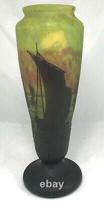 Large Impressive Daum Nancy Cameo Vase with Marine Scene