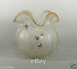 Large Legras Mont Joye St Denis Gilt & Enameled Cameo Glass Vase