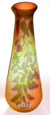 Large Original Emile Galle Art Nouveau Wisteria Art Glass Cameo Vase