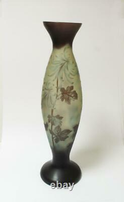 Large Vintage Art Nouveau Cameo Overlay Glass Vase Galle Style