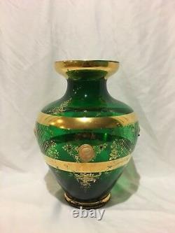 Large Vintage Emerald Green Bohemian Vase withRoman Cameo Accents