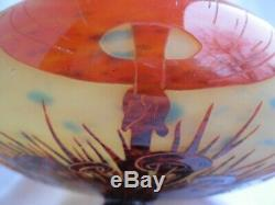 Le Verre Francais, Antique Cameo Glass Pedestal Dish, Coprin Mushrooms