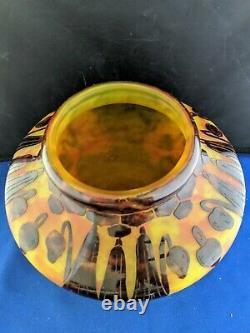 Le Verre Francais Campanules signed Cameo Glass Vase apprx 6.5H antique vintage