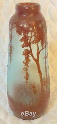 Legras Cameo Art Glass Vase In Cranberry On Blue