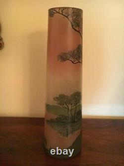 Legras Cameo Glass Scenic Tall Vase
