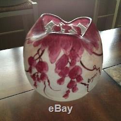Legras France Cameo Art Nouveau Glass Vase 6.25 VGC