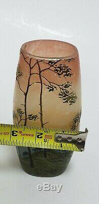 Legras Glass Vase Vtg Art Nouveau French Cameo Mountain Shepherd Sheep Signed 6