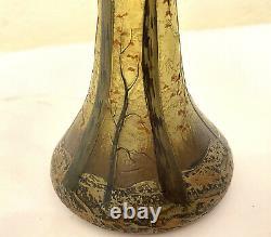 Legras Jugendstil Art Nouveau Vase Cameo glass grün blau geätzt etched 1905